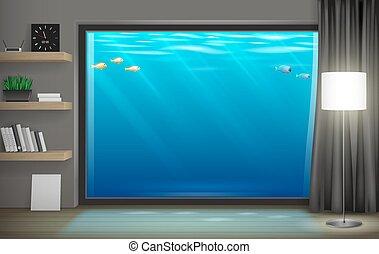 Interior underwater hotel with panoramic window. Vector...