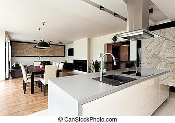 interior, urbano, apartamento, -, elegante