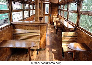 interior, vagón, ferrocarril, viejo, vendimia