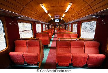 interior, vagón, viejo