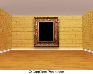 interior, vazio, mosaico, sala