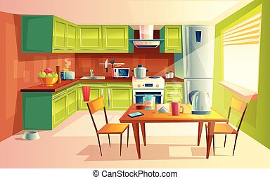 interior, vector, caricatura, cocina, ilustración