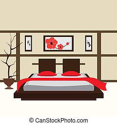 interior, vector, dormitorio