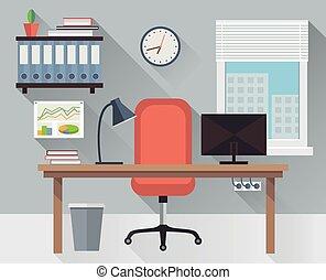 interior, vector, lugar de trabajo, oficina