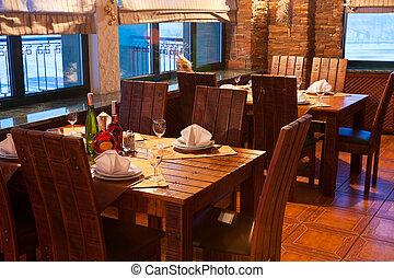 interior, vendimia, restaurante