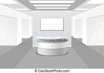interior, vestíbulo, recepción, o