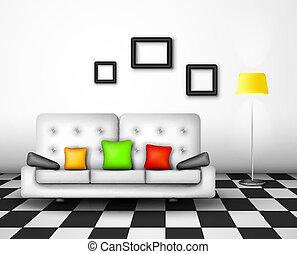 interior, vetorial, desenho
