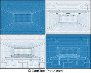interior, vetorial, escritório, vazio, quartos