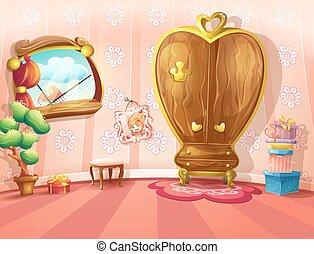 interior, vetorial, meninas alojam, ilustração