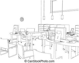 interior, vetorial, quartos, escritório