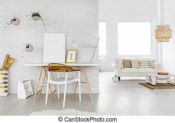interior, vida, espacioso, habitación