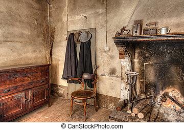 interior, viejo, casa, país