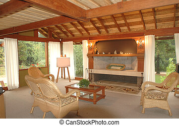 interior view - Interior view of the lounge room of a ...