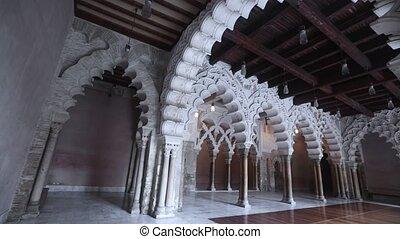 Aljaferia Palace. North gate arches Patio de Santa Isabel. Zaragoza, Aragon, Spain
