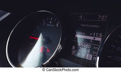 Interior view of car with black salon, speedometer and steering wheel in slowmotion. 1920x1080