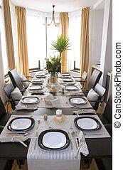 Dining room table elegantly set