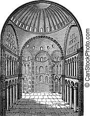 Interior view of Hagia Sophia in Istanbul, Turkey, vintage engraving