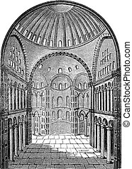 Interior view of Hagia Sophia in Istanbul, Turkey, vintage...