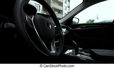 Interior view of modern luxury car