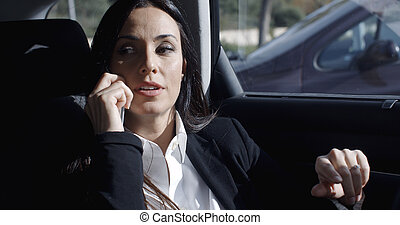 Interior view of woman on phone in limousine - Interior view...
