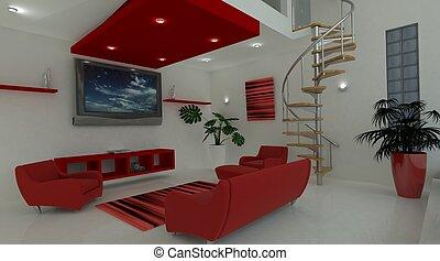 interior, vivendo, contemporâneo, espaço