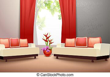 interior, vivendo, desenho, sala