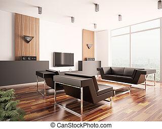 interior, vivendo, quarto moderno, 3d