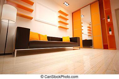 interior, vivendo, quarto moderno, design.