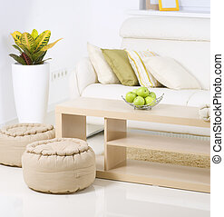 interior, vivendo, quarto moderno, design.white