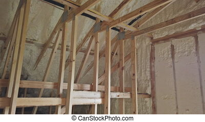 Interior walls with thermal insulation prior to wood wall ...