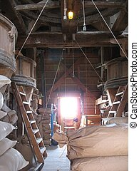 Interior windmill - Interior of a working flour windmill in ...