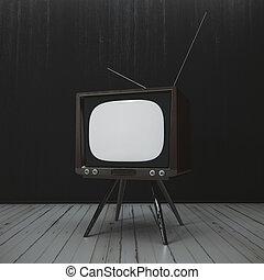 Interior with antique TV