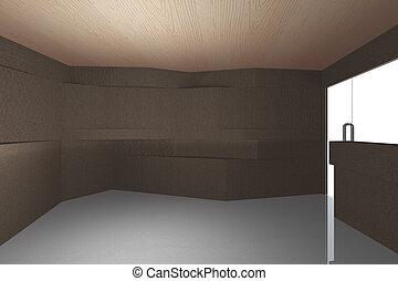 Interior with bark wood pattern wall - Futuristic interior...