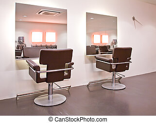 interior with chairs in new beauty salon