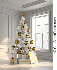 interior with christmas tree and gift boxes 3d illustration
