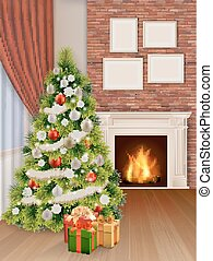 interior with christmas tree red curtain and fireplace