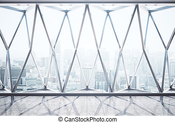 Interior with city view - Front view of panoramic window...