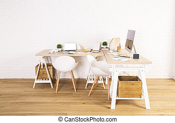 Interior with creative designer workspace
