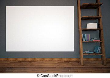 Interior with empty billboard