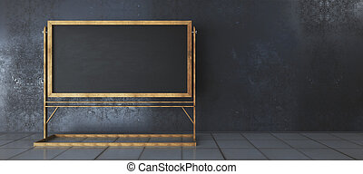 Interior with empty chalkboard