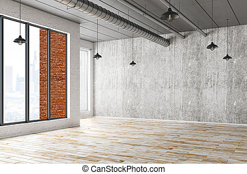 Interior with empty concrete wall