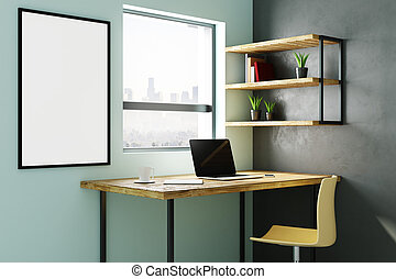 Interior with empty laptop and billboard - Modern...
