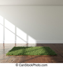 Interior with grass carpet