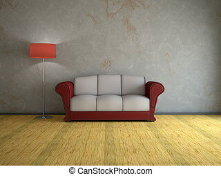 Interior with old sofa