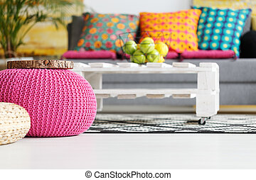 Interior with pink pouf