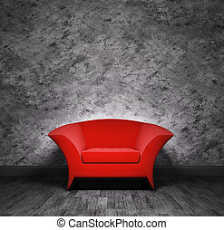 Modern red armchair over the black stucco wall