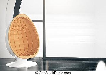 Interior with round armchair