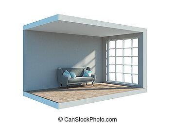 Interior with sofa cam - Abstract mini interior with sofa...