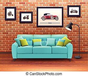 Interior With Sofa Realistic Illustration - Vibrant...