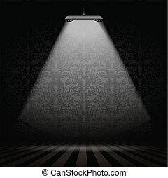 Interior with spotlight - Dark interior with Damask...